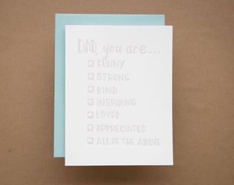 For Dad - Letterpress Folded Card & Envelope