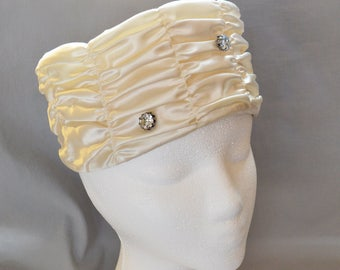 Beautiful Vintage Pillbox Hat - Cream Satin with Rhinestone Accents, 1950s or 1960s, Wedding Hat