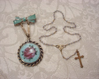 Tiny Seed Bead Rosary Guilloche Enamel Mourning Gold Plate Locket Brooch Pin Antique Vintage