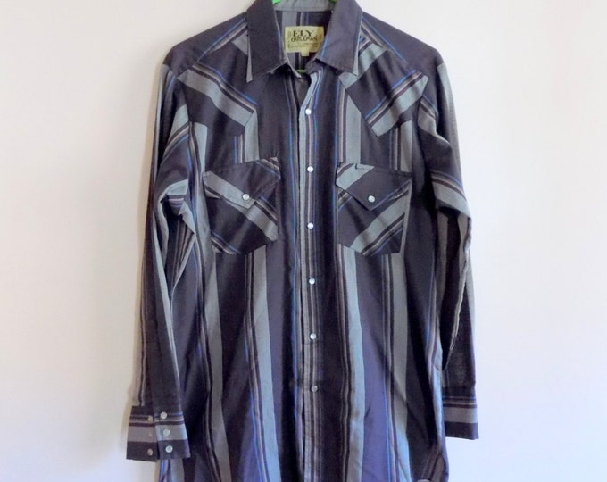 Featured listing image: 80s Cowboy Shirt, Ely Cattleman, Gray Plaid, Snap Buttons, Button Down, Country Western, 1980s, Hipster, Mens Vintage Clothing, Size 15 1/2