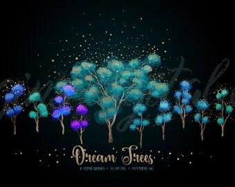 Dream Trees - fantasy tree clipart, magic enchanted forest png clip art, tree clip art, gold star embellishments, digital instant download