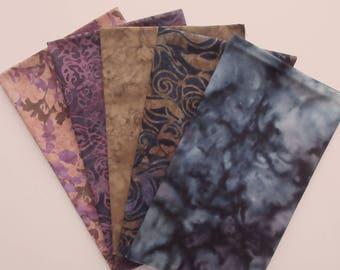 Floral Batik Fabric Bundle - 5  Fat Quarter Cuts - Shades of Lavender Purple and Peach - 100% Cotton