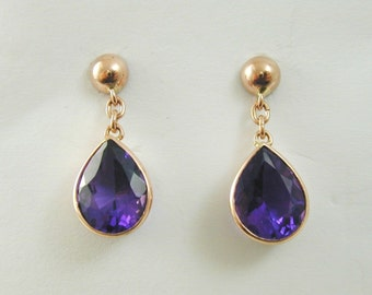 Amethyst tear drop earrings 9 carat Rose Gold butterfly back 3.12 carats