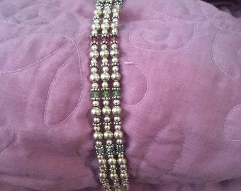 Sterling silver bead bracelet with Swarovski crystals