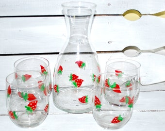 Glass Carafe and Roly Poly Glasses , Red Strawberries , Outside and Garden Set