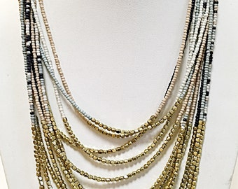 Gold, Blue, Beige and Navy Blue Multi Strand Beaded Necklace / Long Necklace.