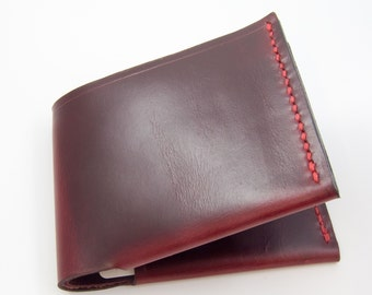Billfold, Wallet, Leather Wallet, Bifold Wallet, Horween Wallet - Dark Red w/Black Undertones