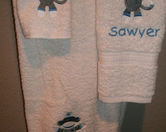 Sock Monkey Personalized 3 piece Bath towel, hand towel & Washcloth Set