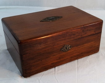 Vintage Mahogany Humidor with Brass Decoration