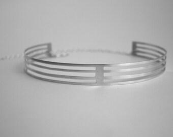 Stripe choker - sleek modern design in sterling silver