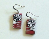 Red, White, and Black Lightweight Rectangular Polymer Clay with Spiral Design by Carol Wilson of Je t'adorn