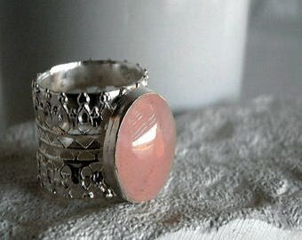 Silver Filegree Ring, silver Ring, silver gemstone ring, Statement Ring, silver Lace Ring, israel Jewelry, Wide Ring, large Ring, Rosequartz