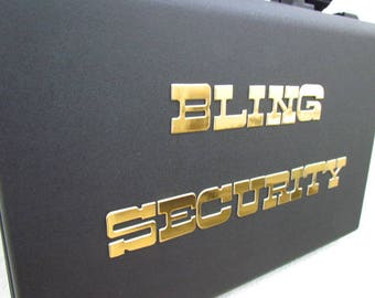 alternative wedding ring box briefcase for ring bearer box bling security briefcase wedding box gold foil letters Bling Security