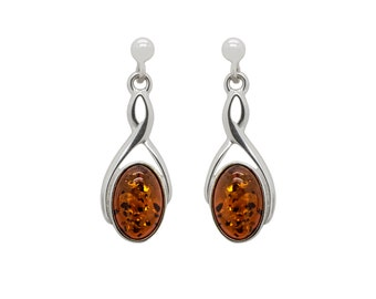Infinity Earrings - Infinity Dangle Earrings - Oval Dangle Earrings - Amber Earrings - Cognac Amber Earrings - Infinity Jewelry -210E1
