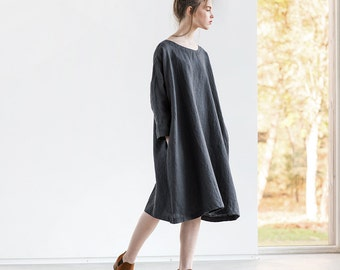 Oversized loose fitting linen dress with DROP SHOULDER long sleeves in charcoal / Washed linen tunic