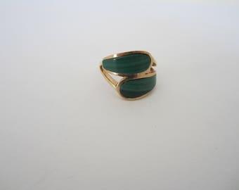 Malachite Ring, 10k Yellow Gold Ring, Green Malachite