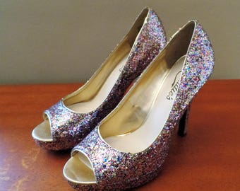 Candies Pink Silver Glitter Heels Open Toed Size 6 1/2 with 4 inch Heel