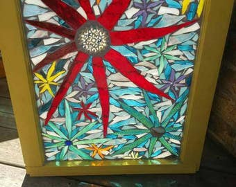 Mosaic stained glass finished in glitter grout
