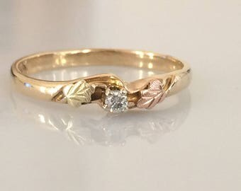 Reserved for BD - Victorian Black Hills Gold Diamond Band