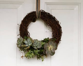 Living Succulent Wreath in Grapevine