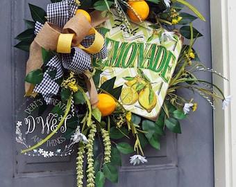 ON SALE, Lemonade Wreath, Summer Grapevine Wreath, Summer Wreath, Summer Lemonade Wreath, Floral Summer Wreath, Grapevine Lemon Wreath