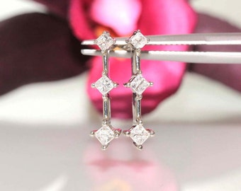 14k White gold natural Princess Diamond 3 stone Screw Back stud Earrings .65ctw