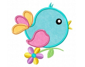 Spring Bird...Instant Download... Applique Machine Embroidery DESIGN NO. 719