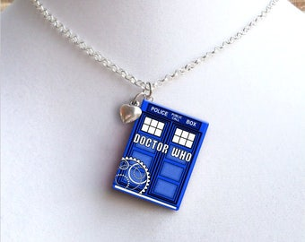 Doctor Who with Tiny Heart Charm - Miniature Book Necklace