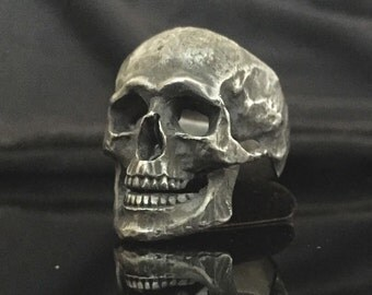 Unique Sterling Silver Skull Ring MASONIC Biker HANDMADE Handcrafted All Sizes US 7 - 15