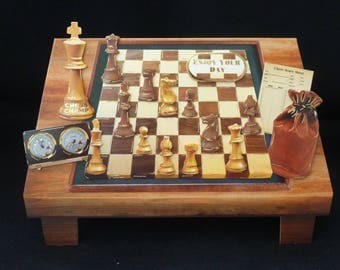 3d Decoupage Shaped Chess Board Birthday Card - Handcrafted in Uk  - Many Happy Returns