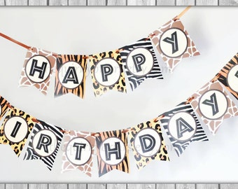 Jungle Safari Adventure / Happy Birthday With Custom Name Paper Bunting Kit / DIY Party Decor / Assemble It Yourself