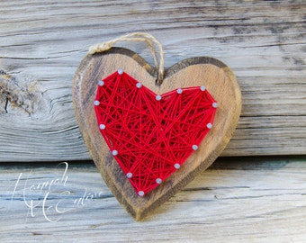 Heart Christmas Ornament String Art, Handmade Christmas Ornament, Wood Christmas Ornament, Christmas Tree Decorations