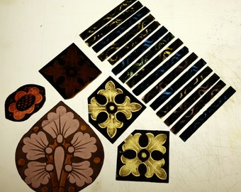 painted stained glass fragments