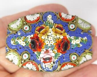 Vintage Italian Micro Mosaic Brooch Pin - Large Brooch