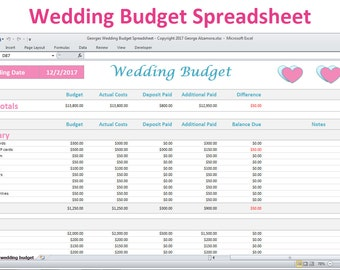 Wedding Budget Spreadsheet Planner Excel   Wedding Budget Worksheet   Wedding  Budget Calculator   Wedding Budget
