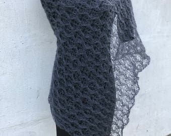 Dark gray lace scarf, lightweight mohair shawl, lace mohair scarf, mohair stola Hand knitted shawl, gift for woman