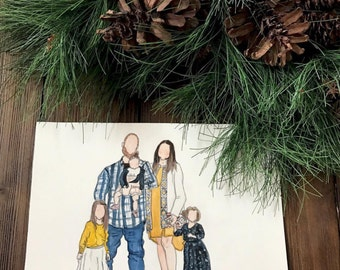 custom watercolor family portrait - large families ( 4 or more people & pets )