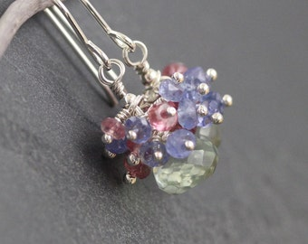 Green Amethyst, Tanzanite, Pink Tourmaline & Sterling Silver Cluster Earrings. Prasiolite Jewelry. Multi Gemstone Beaded Earrings. Jewellery