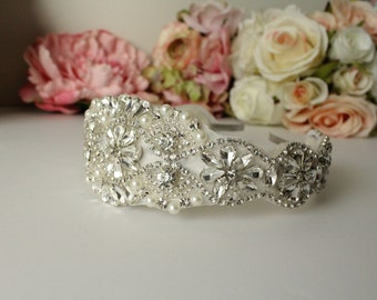 Rhinestone Bridal Headband / Rhinestone Bridal Headpiece / Bridal Headband / Bridal Headpiece / Rhinestone Headband / SQH-5
