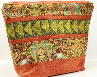 Orange & Green Hand Quilted Sock Knitting Bag with Gold Details