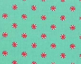 Mini Mints Spearmint Michael Miller Christmas fabric by the yard, peppermint print fabric,teal and red Christmas quilting cotton fabric