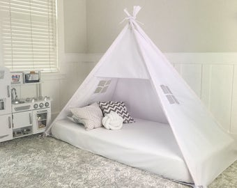 Play Tent Canopy Bed in White Twill