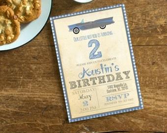 Little Hot Rod Vintage Birthday  Invite,  Invitation with Classic Car, Blue Gray Invite, Digital File