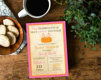 TWINS SHOWER Two Little Pumpkins Girl Baby Shower  Invite,  Invitation with Pumpkins Simple Casual, Digital File or printed and shipped