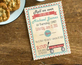 Little Red Wagon Vintage Invite, Roll On Over, First Birthday, Retro Teal Red Wagon Birthday Invite