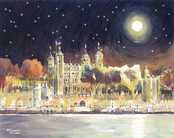 LONDON WATERCOLOR ORIGINAL, Tower Of London, Moon River, River Thames, London Watercolor, Moonlight, Starry Night, Watercolour Painting,
