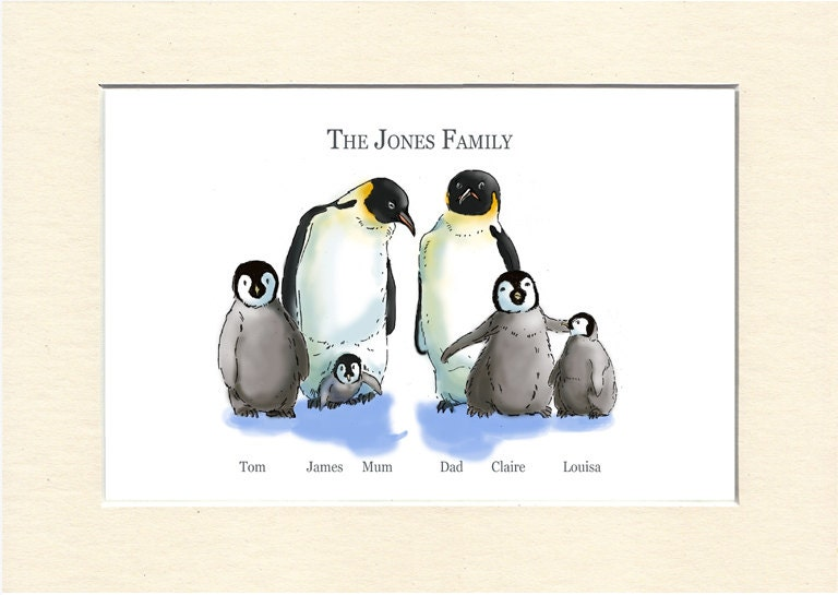 Custom family portrait family gifts easter gifts penguin zoom negle Images