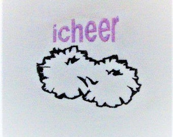 Cheerleader Machine Embroidery Design - Cheer Poms Embroidery Pattern - Digital Download - Pattys Appliques - Digital File