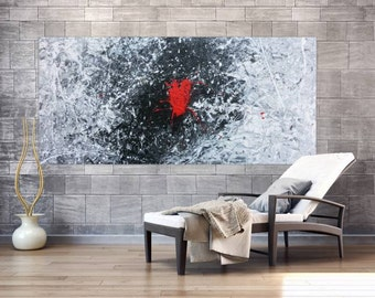 Original abstract artwork on canvas ready to hang 100x220cm #681
