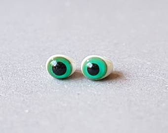 Glass eyes, 3-4 mm, green, miniature, small eyes, ooak, small glass eyes,.